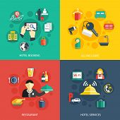 picture of restaurant  - Hotel accommodation services concept flat icons set of room booking business trip restaurant food and reception bell for infographics design web elements vector illustration - JPG
