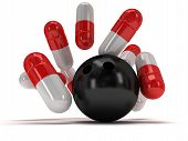 3D Medical Pills Strike With Bowling Ball