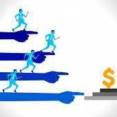 businessmen run for money concept  background vector