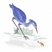 Heron And Fish Vector Illustration
