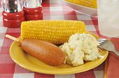 Corn Dog With Potato Salad