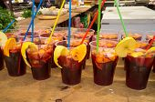 stock photo of sangria  - Many glasses with freshly made Spanish sangria