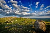 mountain landscape with beautiful sky in Dobrogea, Romania