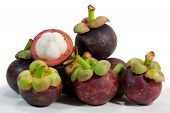 Mangosteen and a white background