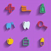 Set Of 9 Dental Web And Mobile Icons. Vector.