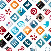 Social Media Icons Seamless Pattern