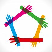 colorful hand join and make pentagon shape vector