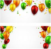 Celebration banners with colorful balloons with confetti. Vector illustration.