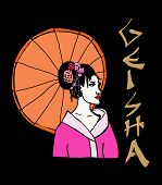 stock photo of geisha  - colored image of a beauty geisha with umbrella - JPG