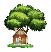 Illustration of a house under the tree with a little girl playing on a white background