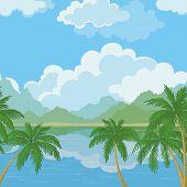 Seamless landscape, sea and palm trees