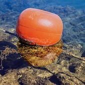 Mooring buoy floating on the sea