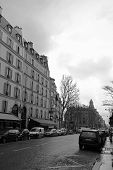 Black and white street view taken in Paris