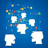 social media network or connecting people concept vector