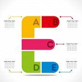 creative  E  alphabet info-graphics design concept vector