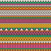 Colorful tribal print. Vector seamless background.