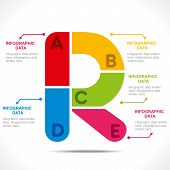 creative alphabet 'R' info-graphics design concept vector