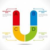 creative alphabet 'U' info-graphics design concept vector