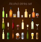 stock photo of absinthe  - Alcohol drinks bottles and glass set of wine beer champagne martini isolated vector illustration - JPG