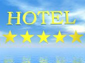 Golden Hotel sign 5 stars - 3D render