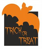 Trick or treat vector card with bat. Orange and black party sign