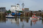 Brunsbuettel - Freighter At Lockage To The Kiel Canal