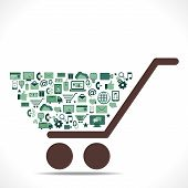 creative e-commerce icon arrange in shopping cart concept vector
