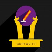 copy-write icon design hold in hand vector