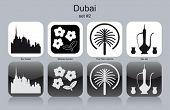 Landmarks of Dubai. Set of monochrome icons. Editable vector illustration.