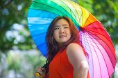 Happy Fatty Woman With Umbrella