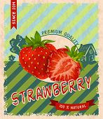 Strawberry retro poster