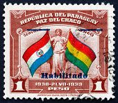 Postage Stamp Paraguay 1942 Flags Of Paraguay And Bolivia