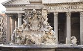 Fountain And The Pantheon In The Square Rotonda (architect Giacomo Della Porta). Rome