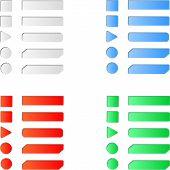 Blank colored internet web button set.