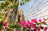 Mysore gothic Cathedral with colorful prayer flags