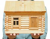 stock photo of chemise  - wooden house on palms  - JPG