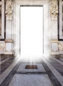 foto of heavens gate  - luminous door with marble floor and statue - JPG