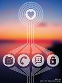 Vector Web And Mobile Interface Template.  Blurred Background. Healthy Living.. Sunset