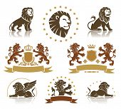 picture of lion  - Lions heraldic set with banners - JPG