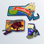 Massachusetts, Connecticut, Rhode Island retro state facts Illustrations