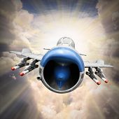 Dramatic scene on the sky. Old jet fighter plane inbound from sun. Retro technology background.