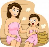 Illustration of a Mother and a Daugher Bonding in a Sauna