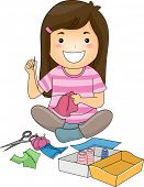 Illustration of a Cute Little Girl Sewing a Piece of Fabric