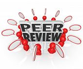 Peer Review words surrounded by people and speech bubbles evaluation or assessment