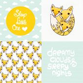 Cute little nursery baby fox illustration in water colors and sweet dreams and sleepy nights typography poster design set