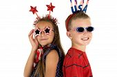 Darling Boy And Girl Wearing Cute Patriotic Sunglasses