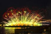 ST.PETERSBURG, RUSSIA - JUN 20, 2014: Light show and firework with a frigate with scarlet sails floa