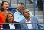 TV anchor Katie Couric with her fiance John Molner during tennis match at US Open 2013