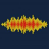 3D Yellow Sound Waveform Made Of Cubes