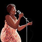 Vector illustration of singer on black background